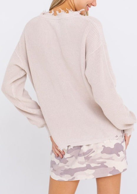 SARAH DISTRESSED CREW NECK SWEATER