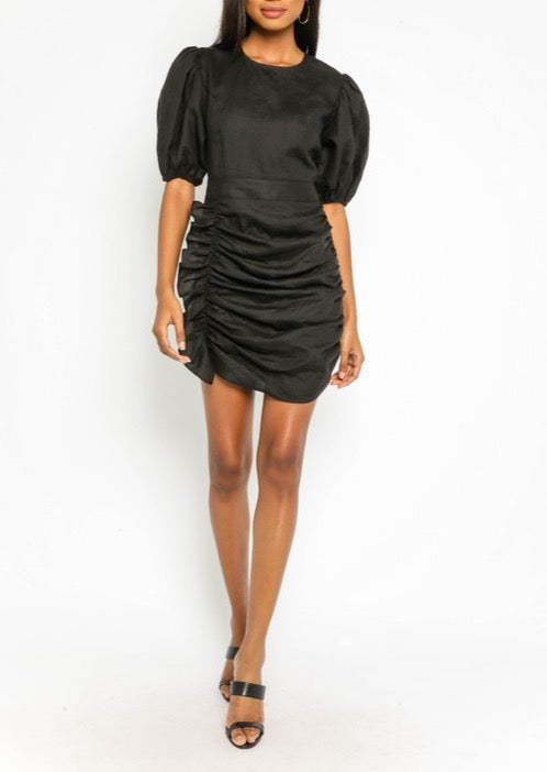 SOFI LINEN LITTLE BLACK DRESS