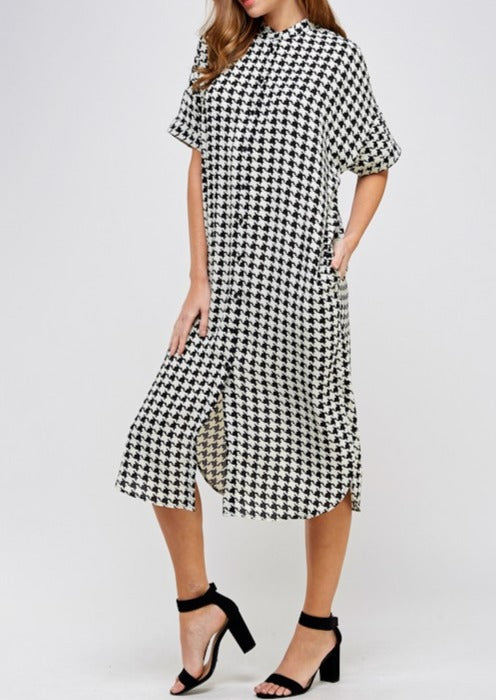 houndstooth; button dress; shift dress; houndstooth dress; houndstooth shift dress;