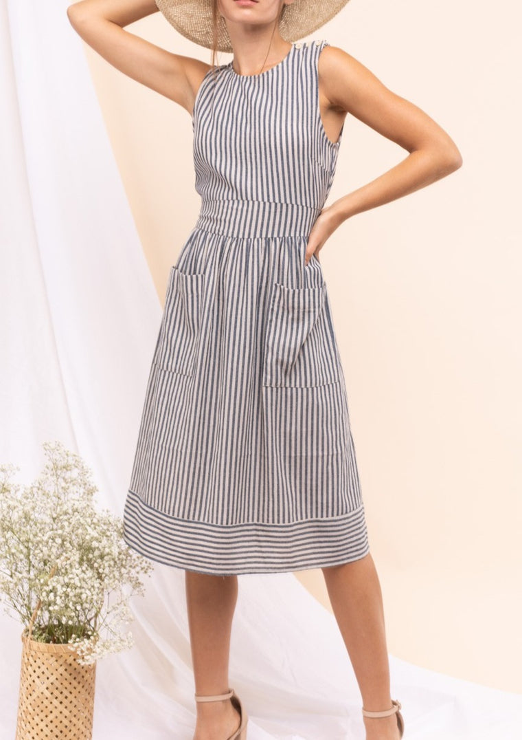 DORA STRIPED MIDI DRESS