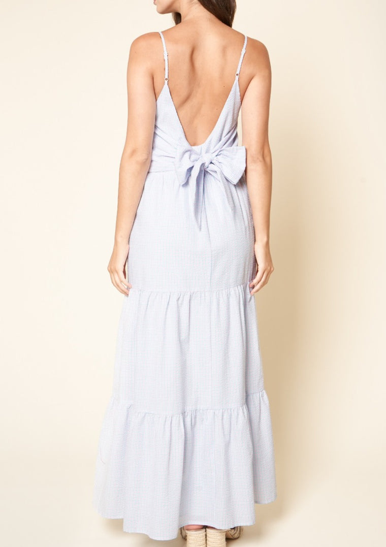 gingham open back maxi dress