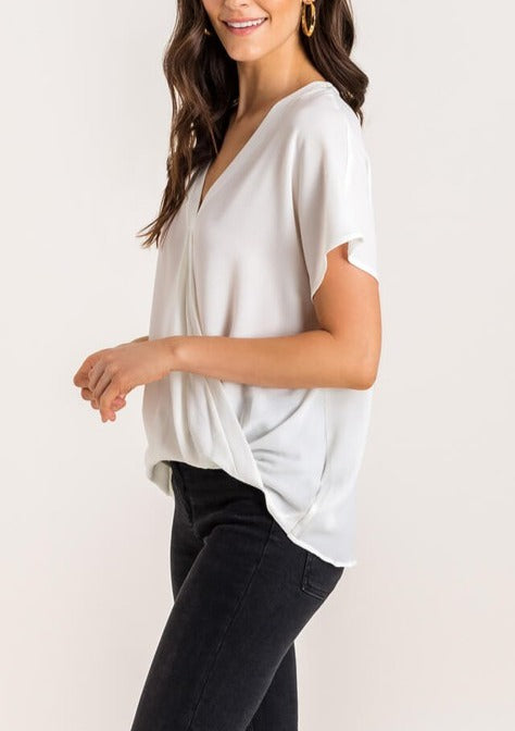 surplice short sleeve top