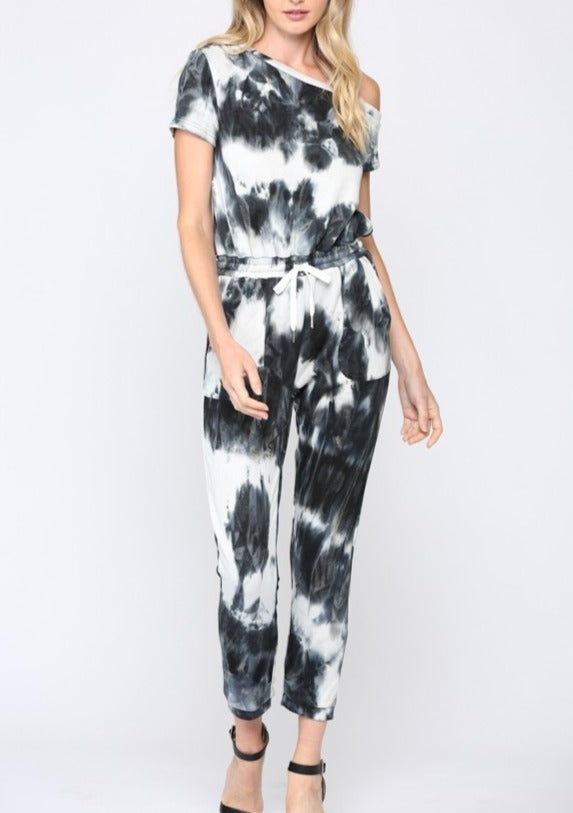 one shoulder tie dye jumpsuit