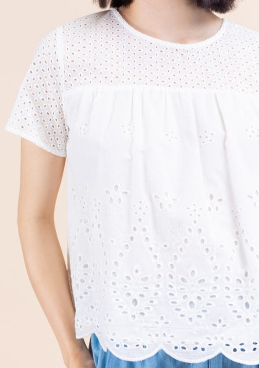short sleeve eyelet top