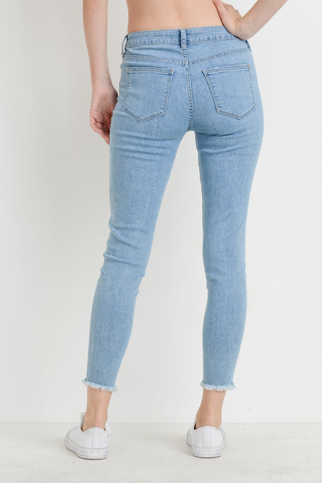 high rise jeans with frayed hem