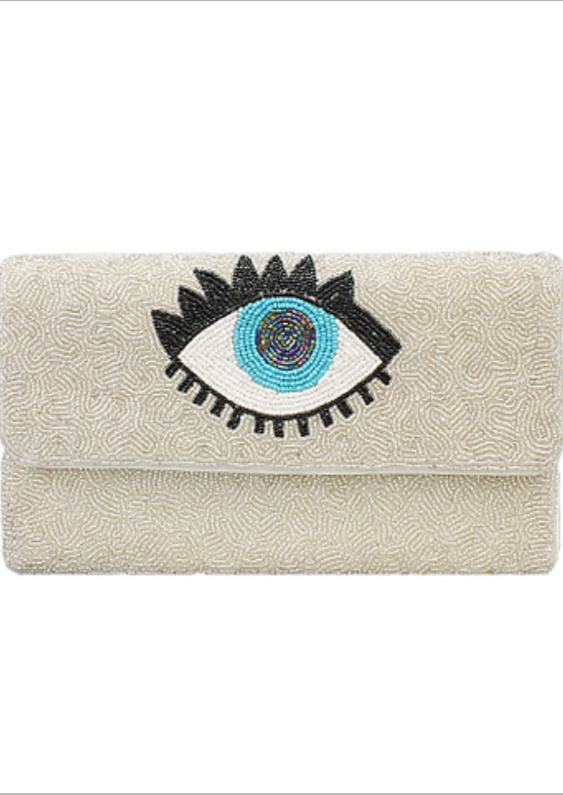 BEADED EYE CLUTCH