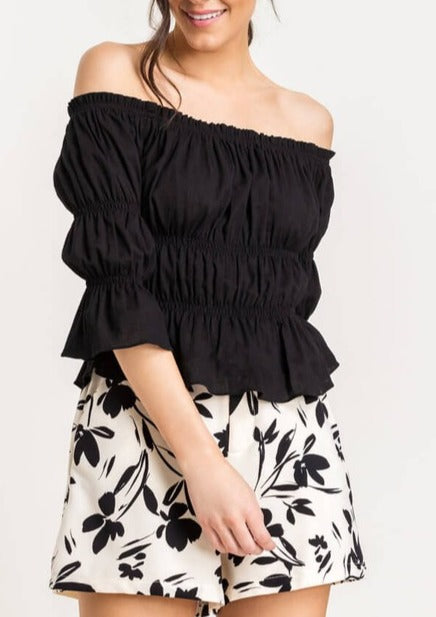 off the shoulder gathered top