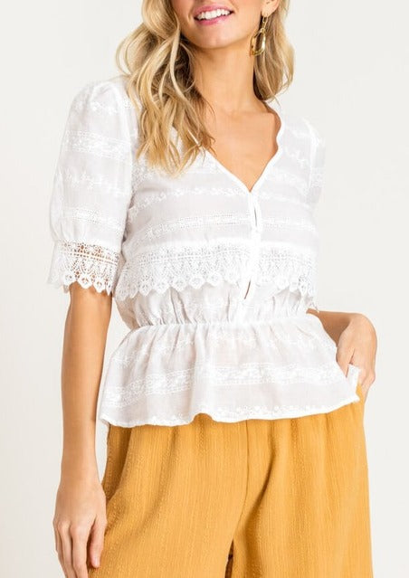 eyelet crochet lace top