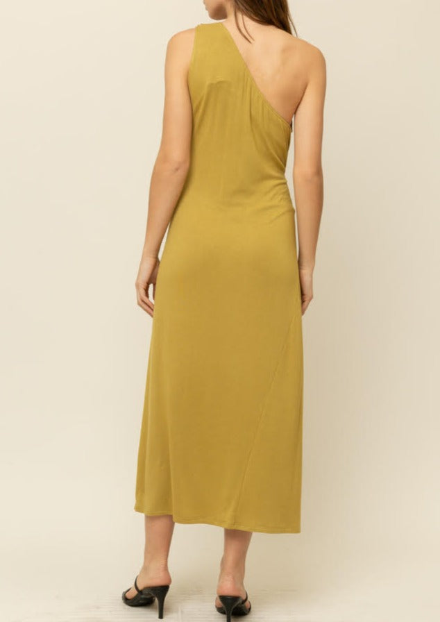 MAKEDA ONE SHOULDER JERSEY DRESS