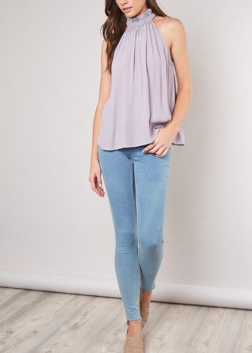 LAVENDER MOCK NECK TOP