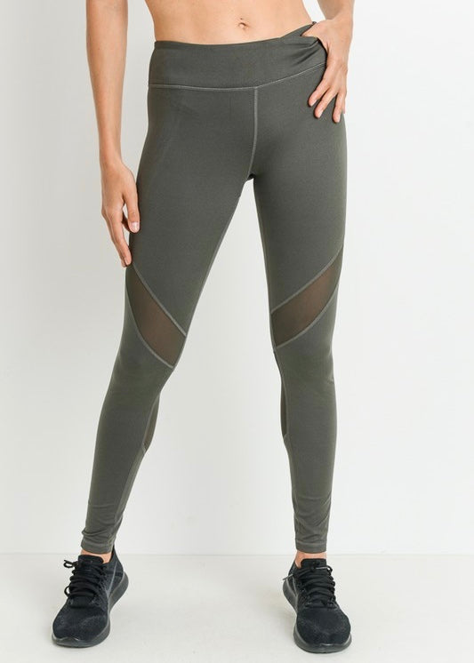 SLANTED WRAP MESH LEGGINGS