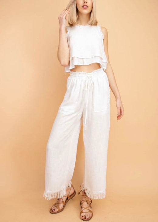 SOPHIE WIDE FRAYED HEM PANTS