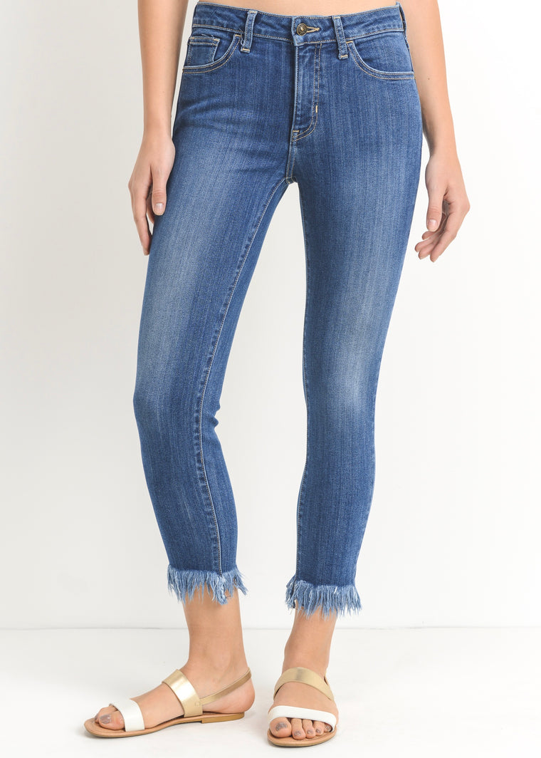 ALISA CROPPED SKINNY WITH FRINGE