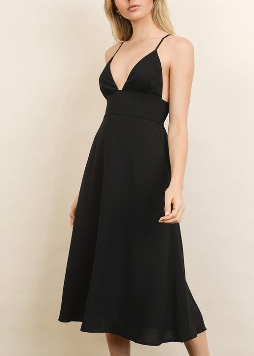 ABBY PLUNGING V-NECK MIDI DRESS