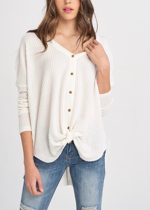 STACEY THERMAL BUTTON DOWN SWEATER