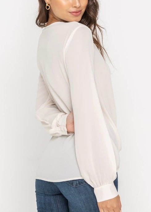 LYNSEY DRAPED CROSSOVER BLOUSE