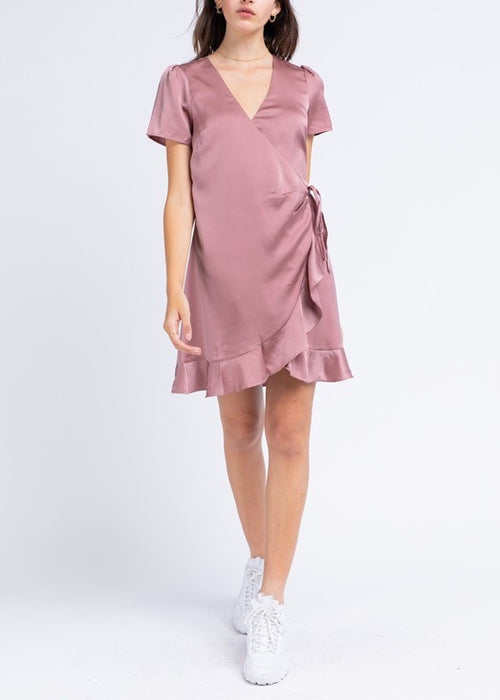 RUFFLE SATIN DRESS