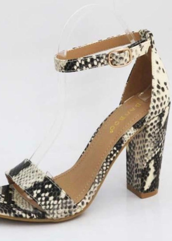 HAILEY SNAKE OPEN TOE HEELS
