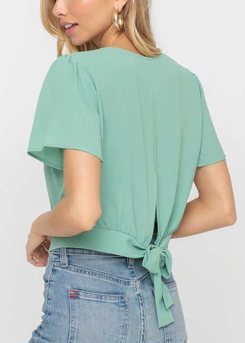 MINT TIE BACK TOP