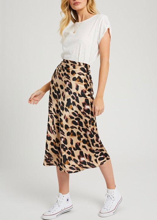 MERCI LEOPARD MIDI SKIRT