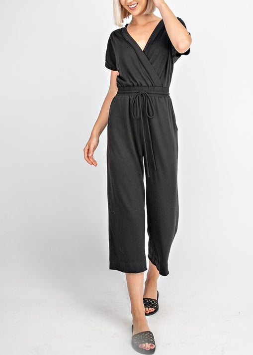 CIARA FRONT CROSS JERSEY JUMPSUIT