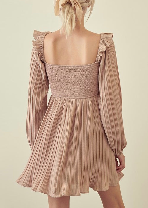 SMOCKED PLEATED DRESS