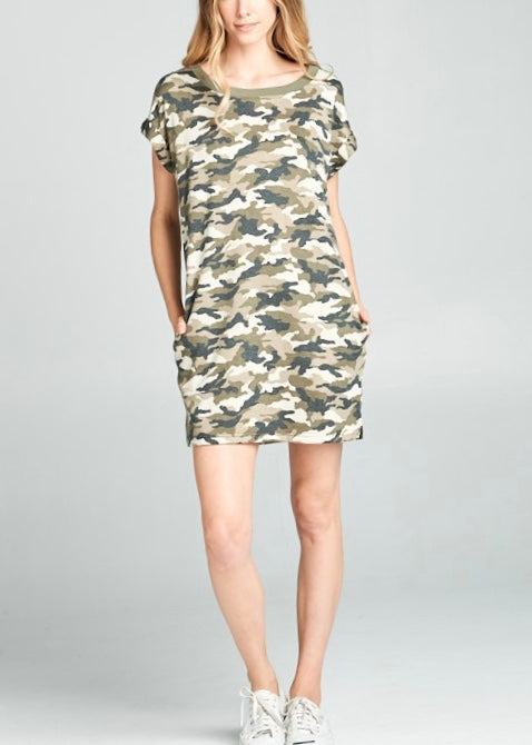 RAMBO CAMO PRINTED SHIFT DRESS