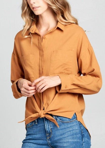 WESTERN FRONT TIE BUTTON-UP TOP