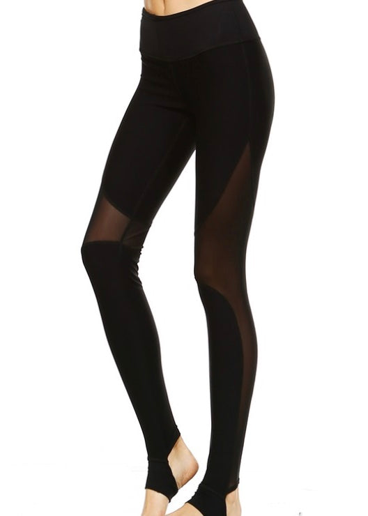 BLACK STIRRUP CUTOUT LEGGINGS