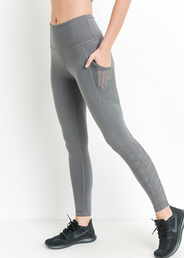 SUPER HIGHWAIST GREY MESH LEGGINGS WITH POCKETS