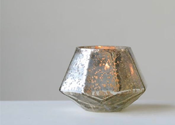 MERCURY GLASS HEXAGON CANDLE SET