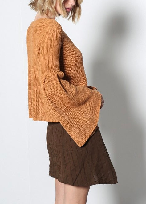DISTRESSED BROWN WRAP SKIRT