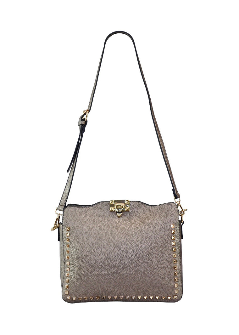 STUDDED LEATHER CARRYALL PURSE