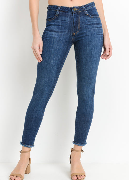 LUCY DARK FRAYED DENIM JEANS