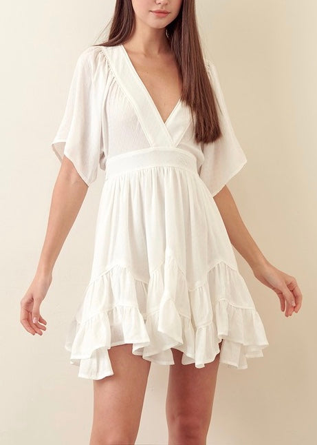 NORA RUFFLED MINI DRESS