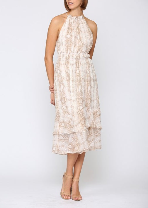 BAILEY SNAKE PRINT MIDI DRESS