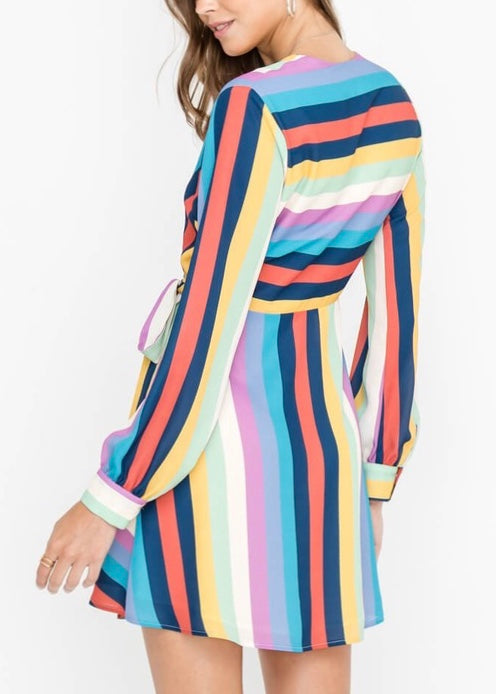 RAINBOW WRAP COCKTAIL DRESS