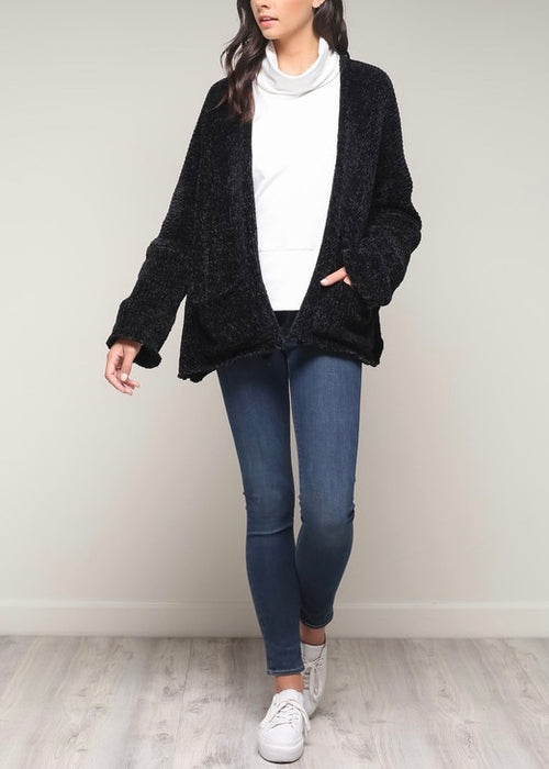 OPEN FACE CHENILLE CARDIGAN