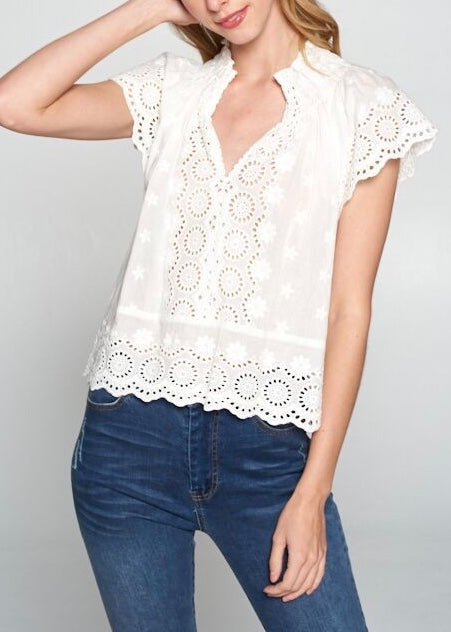 ANGEL COTTON EYELET TOP