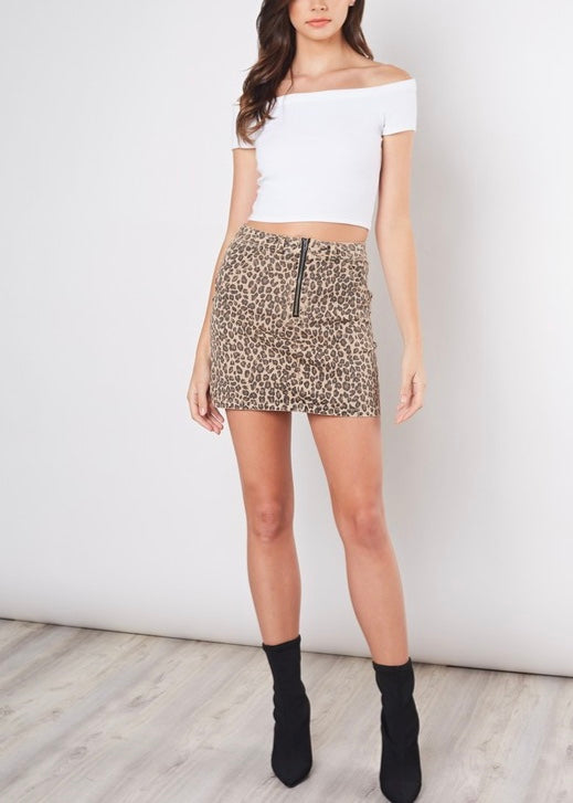 LEOPARD PRINTED DENIM SKIRT
