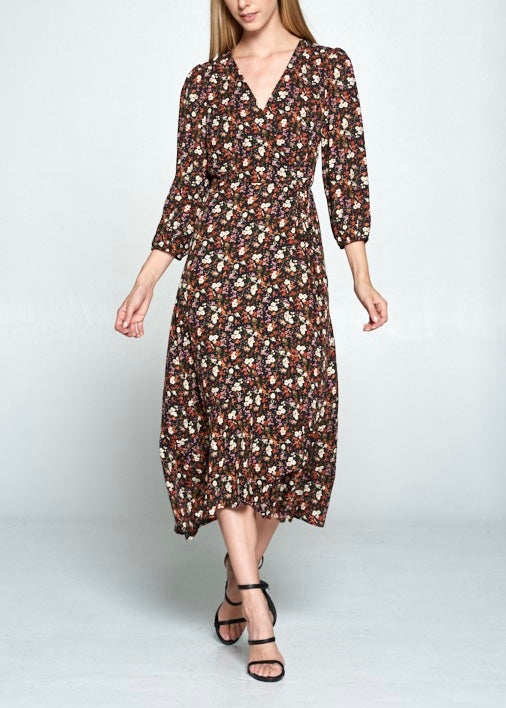 COURT FLORAL WRAP DRESS