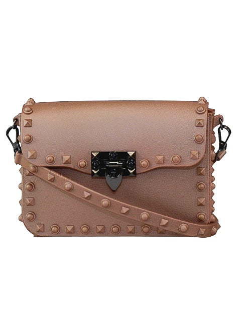 STUDDED FAUX LEATHER CROSS-BODY