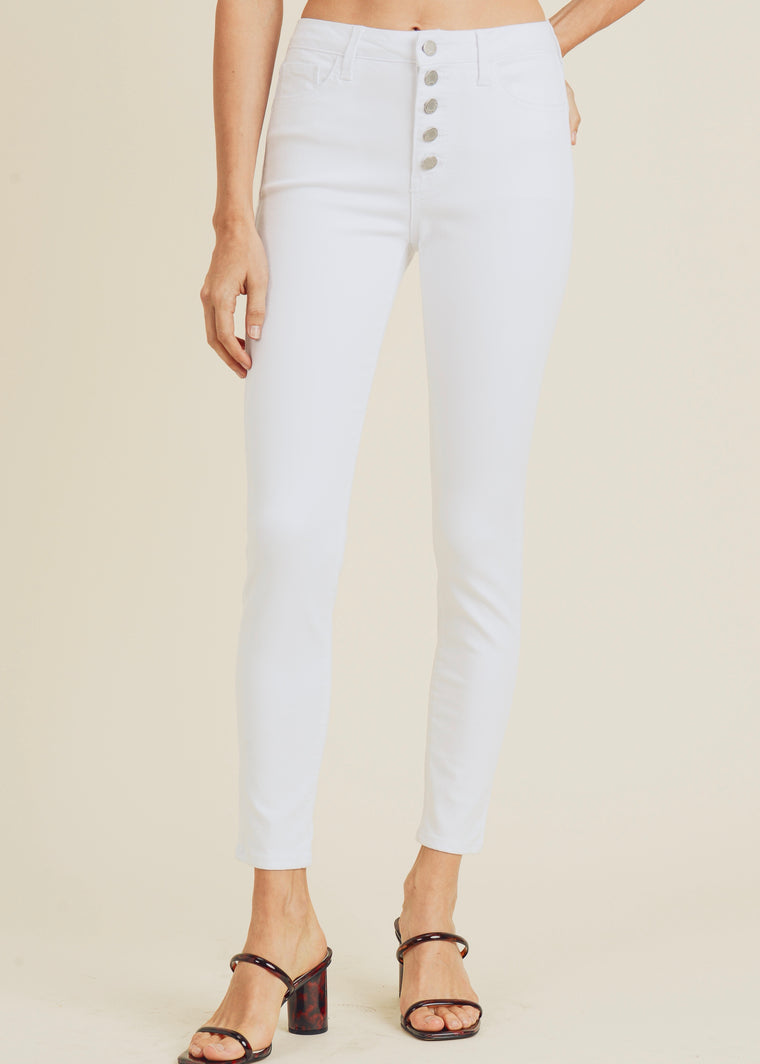 MARIANNE HIGH RISE BUTTON DOWN SKINNY JEANS