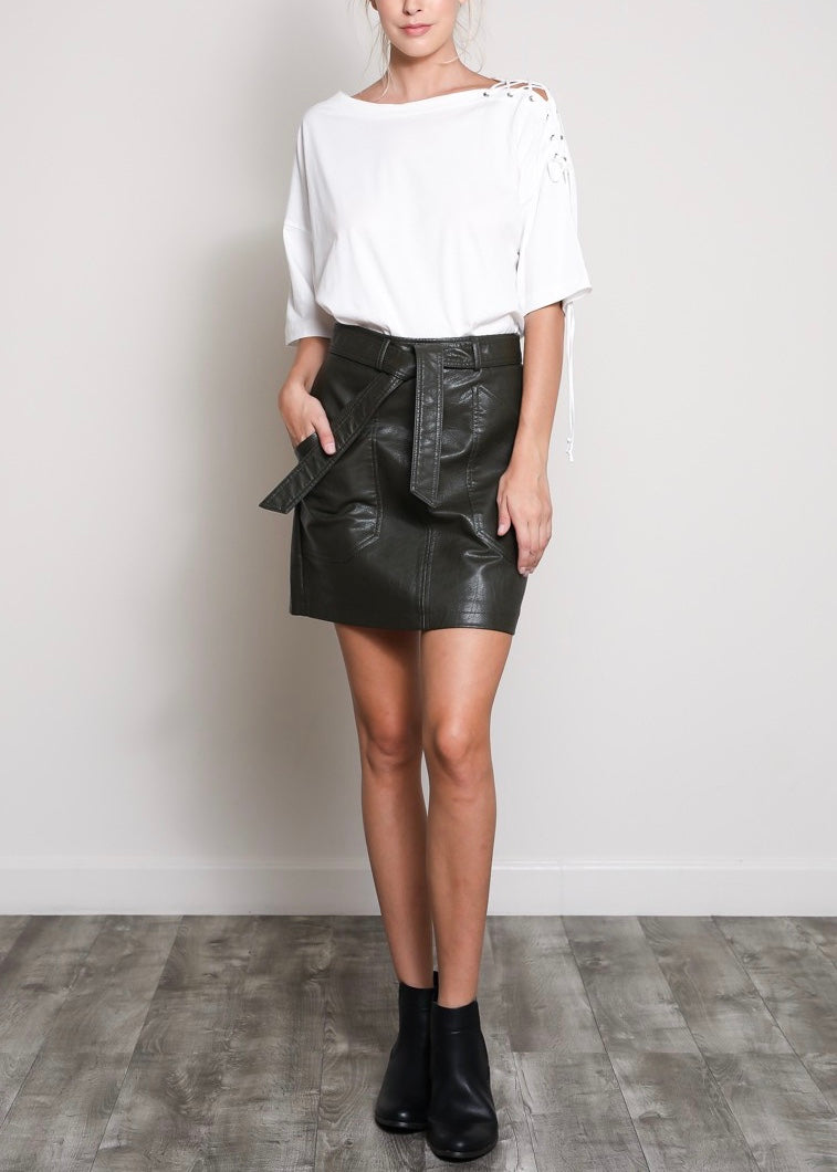OLIVE BELTED LEATHER SKIRT
