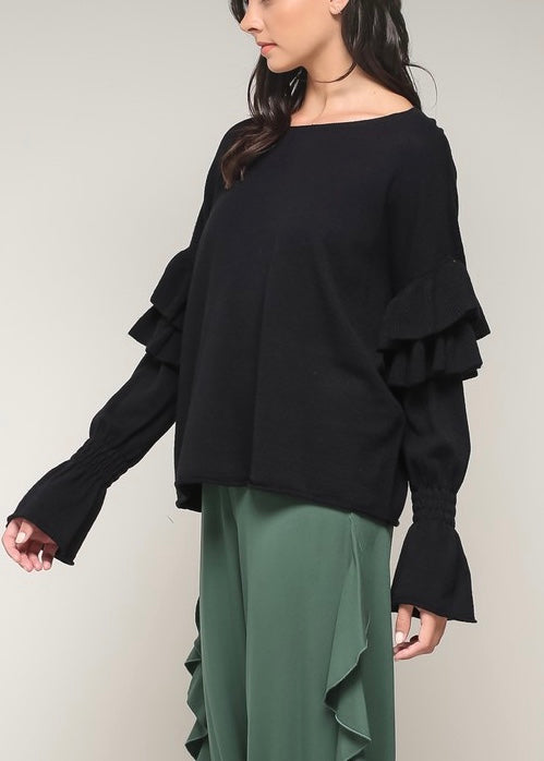 RUFFLED BELL SLEEVE SWEATER