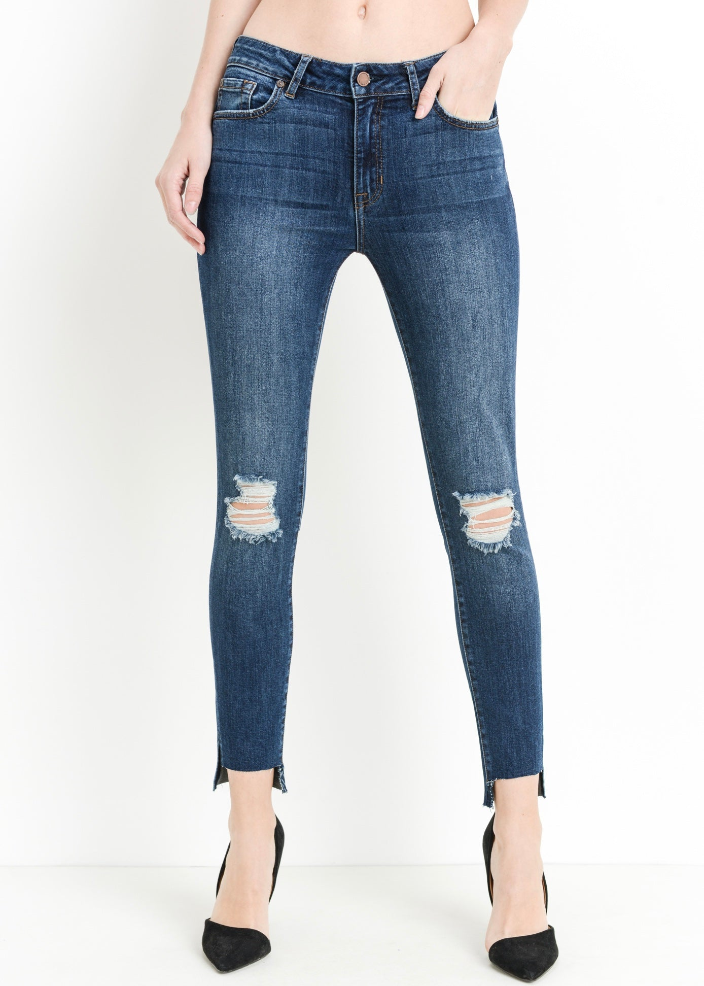 JANE DISTRESSED WASHED DENIM JEANS