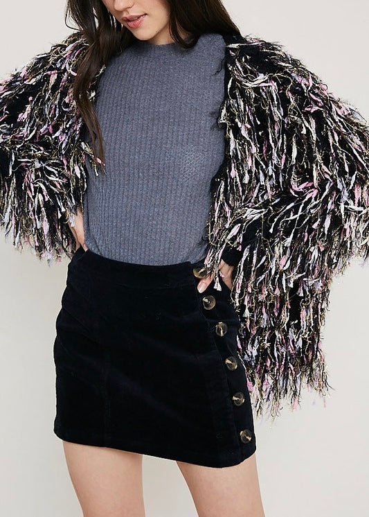 METALLIC SHAG CARDIGAN