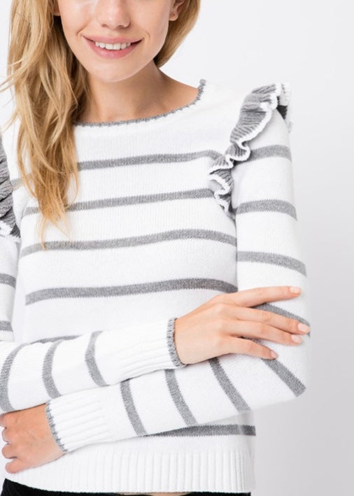 FRENCH STRIPE RUFFLE SWEATER