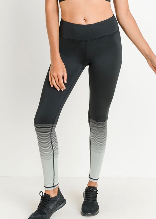 OMBRE STRIPE ACTIVE BLACK LEGGINGS