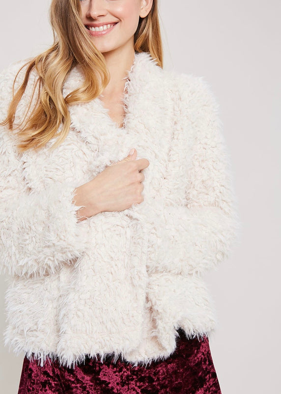 FAUX FUR OPEN JACKET